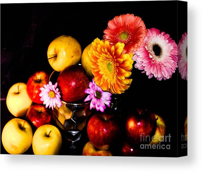 Canvas Print featuring the photograph Apples And Suflowers by Gerald Kloss