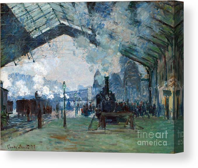 Claude Canvas Print featuring the painting Arrival Of The Normandy Train Gare Saint-lazare by Claude Monet