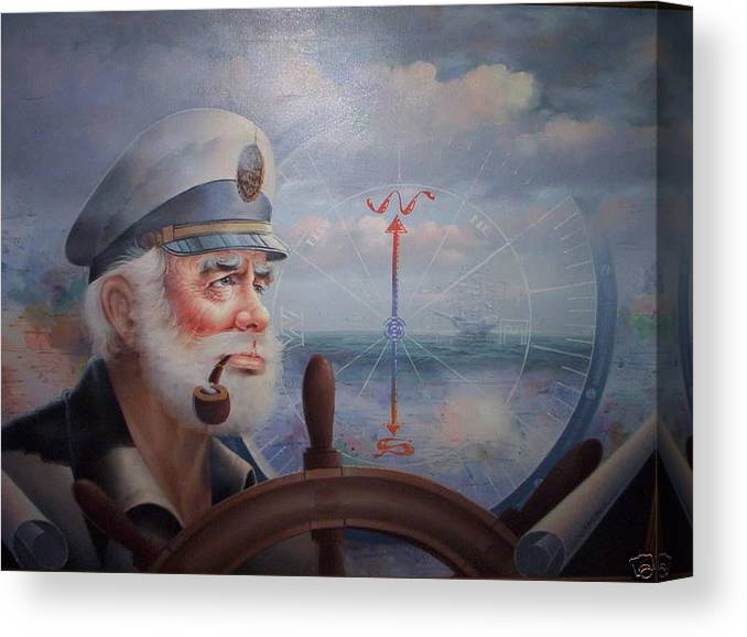 Ebay Canvas Print featuring the painting Astounding Sea Captain Original Or Map Captain 1987 by Yoo Choong Yeul
