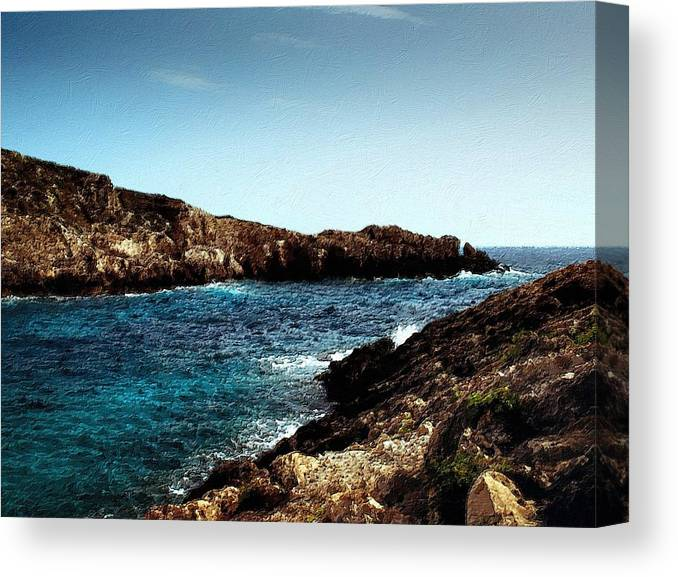 Bay Canvas Print featuring the painting Bay And Sea by Florian Rodarte