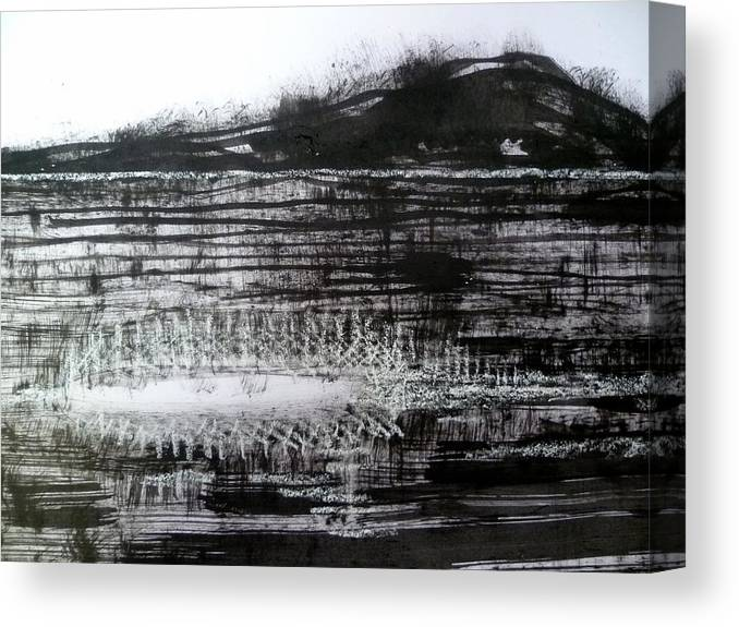 Sumi Canvas Print featuring the drawing Bay Blues 120 by Aquira Kusume