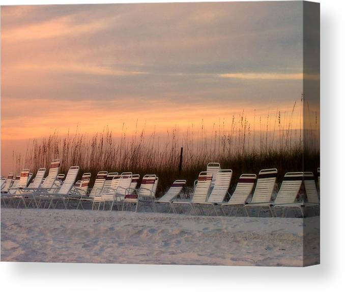 Siesta Key Canvas Print featuring the photograph Beach Chairs At Dusk by Catie Canetti