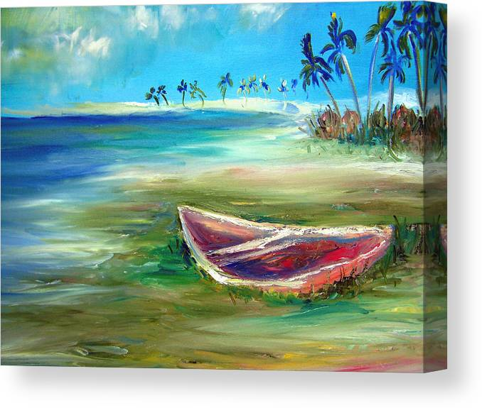 Rowboat Canvas Print featuring the painting Beached by Patricia Taylor