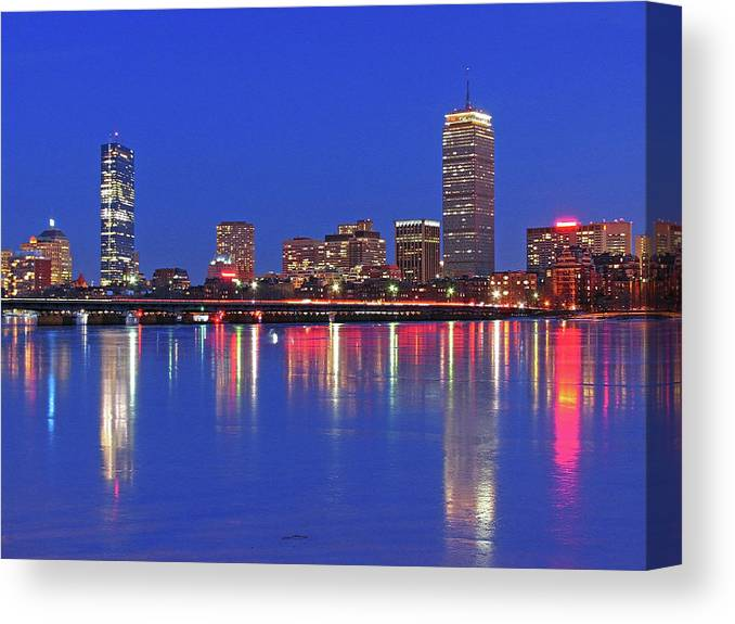 Boston Skyline Canvas Print featuring the photograph Beantown City Lights by Juergen Roth