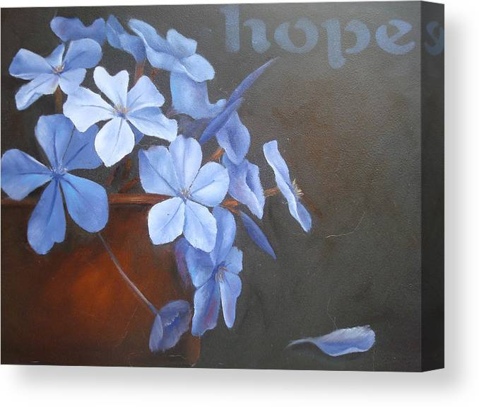 Flower Canvas Print featuring the painting Blue Hope by Sharron White