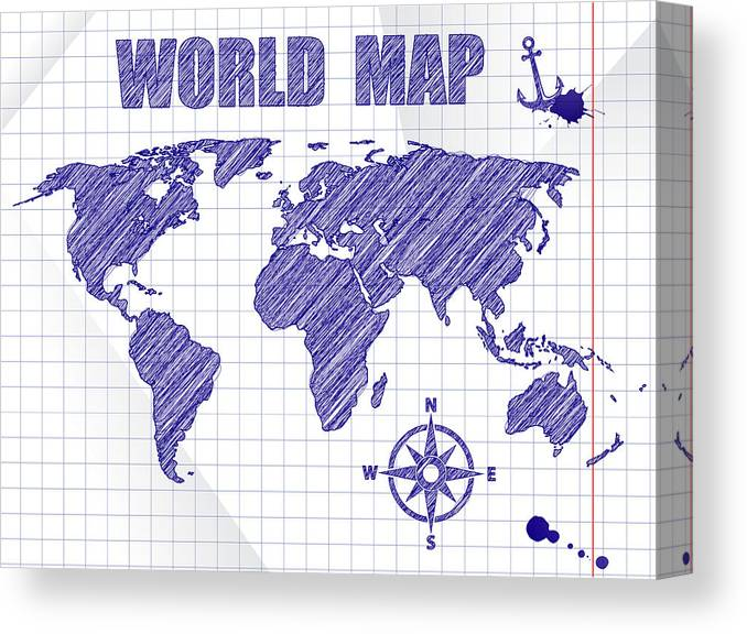 Navigation World Map.Blue Ink Sketched Navigation World Map On School Notebook Sheet
