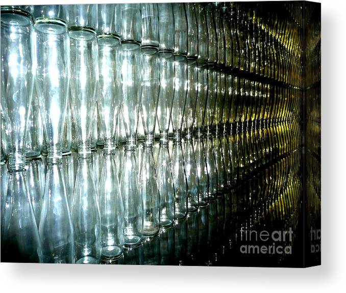 Glass Canvas Print featuring the photograph Bottle Wall by Sara Graham
