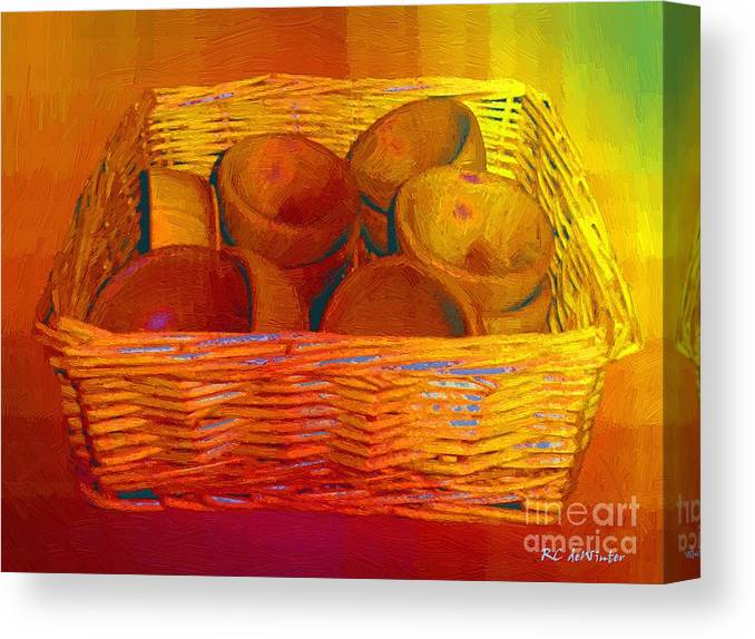 Basket Canvas Print featuring the painting Bowls In Basket Moderne by RC DeWinter