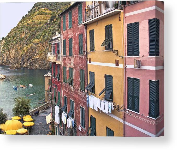 Italy Canvas Print featuring the photograph Buildings Of Vernazza by Betty Eich
