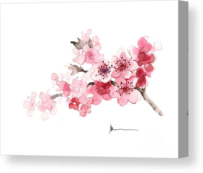 Sakura Canvas Print featuring the painting Cherry Blossom Branch Watercolor Art Print Painting by Joanna Szmerdt