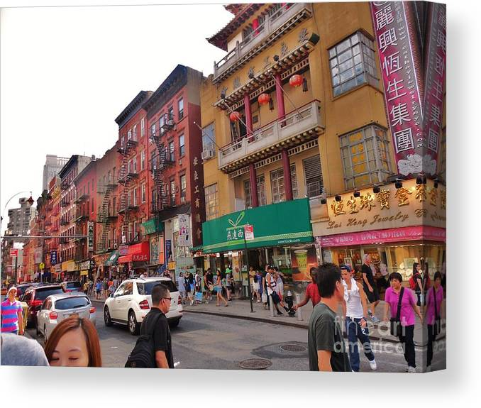 China Town Nyc Canvas Print featuring the photograph China Town Nyc by Robin Coaker