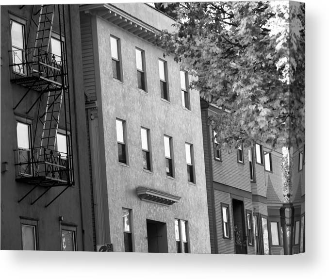 Architecture City Landscape Buildings Coutyard Sidwalk Street Subway Window Old Usa New York Ny Canvas Print featuring the photograph City by W i L L Alexander
