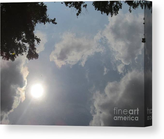 Clouds Canvas Print featuring the photograph Clouds In The River by Annie Fell Photography