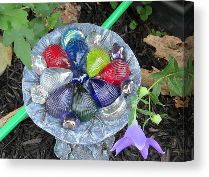 Garden Art Canvas Print featuring the photograph Colored Glass Shells by Elisabeth Ann