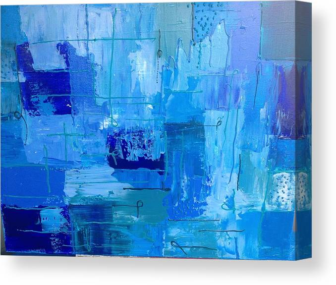 Abstract Canvas Print featuring the painting Colour Blue 2 by Judi Goodwin