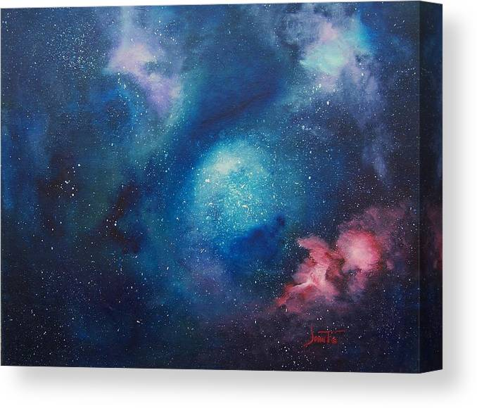 Nebula Art Canvas Print featuring the painting Cosmic Skies by John Terrell