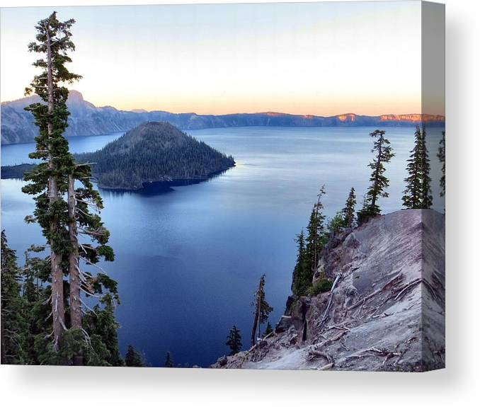 Sunset Canvas Print featuring the photograph Crater Blue by Jim Romo