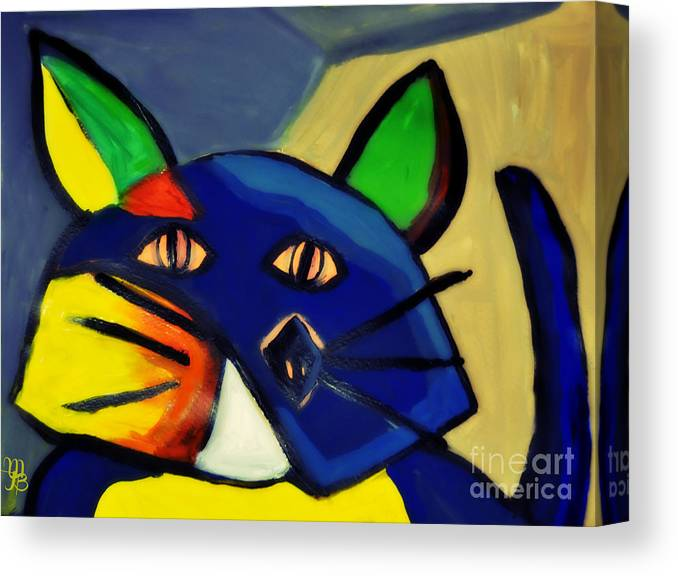 Cubism Canvas Print featuring the painting Cubist Inspired Cat by Mindy Bench