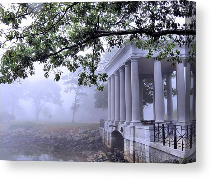 Dense Fog Canvas Print featuring the photograph Dense Fog Plymouth Rock Canopy by Janice Drew