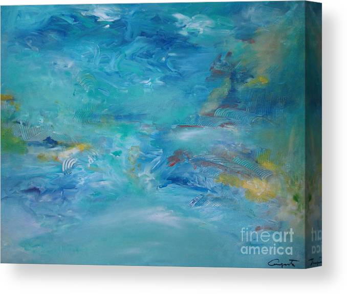 Abstract Canvas Print featuring the painting Distant Shore by Augusta Lourenco- Dias
