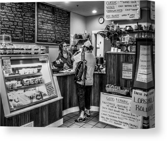 Coffee Shop Canvas Print featuring the photograph Eight Am - Bar Harbor - Maine by Geoffrey Coelho