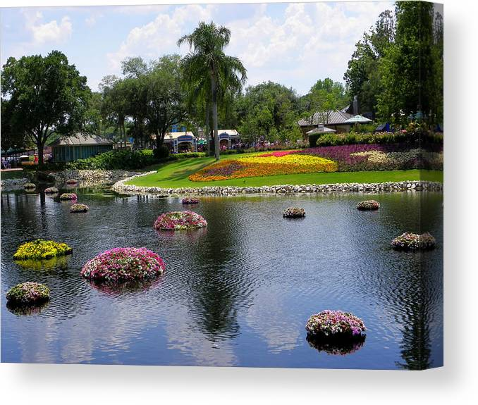 Theme Park Canvas Print featuring the photograph Epcot Center Flower Festival 1 by Judy Wanamaker