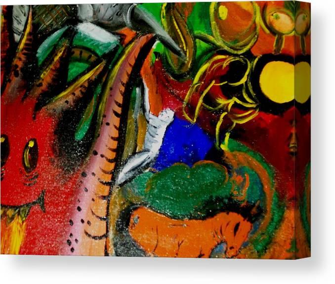 Evil Canvas Print featuring the painting Evil Aloe Vera by Laurette Escobar