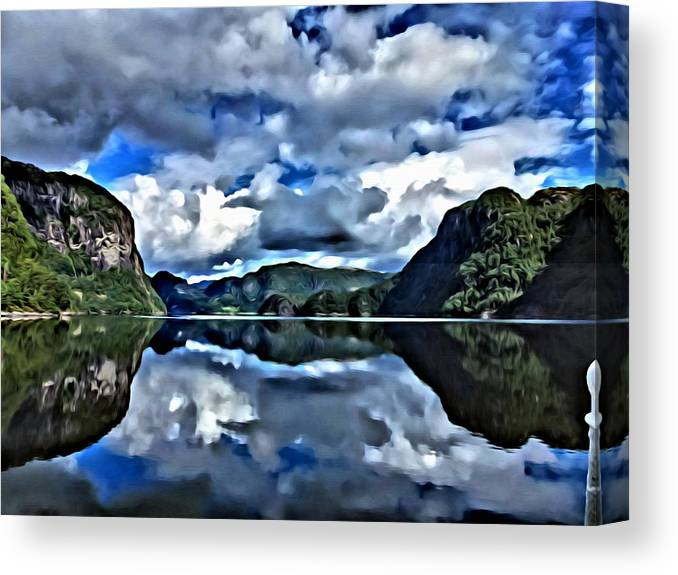 Lanscapes Canvas Print featuring the painting Fjords Of Norway by Florian Rodarte