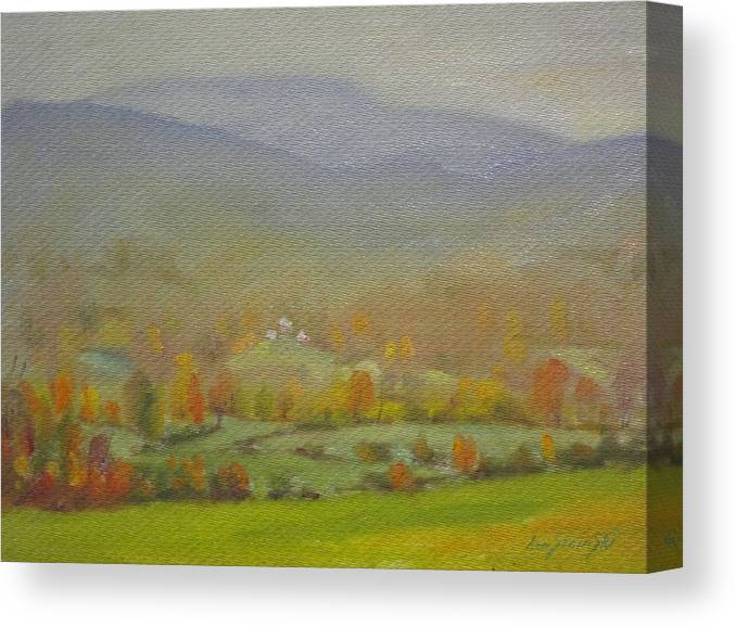 Faint Distant Mountains Canvas Print featuring the painting Foggy Morning by Len Stomski