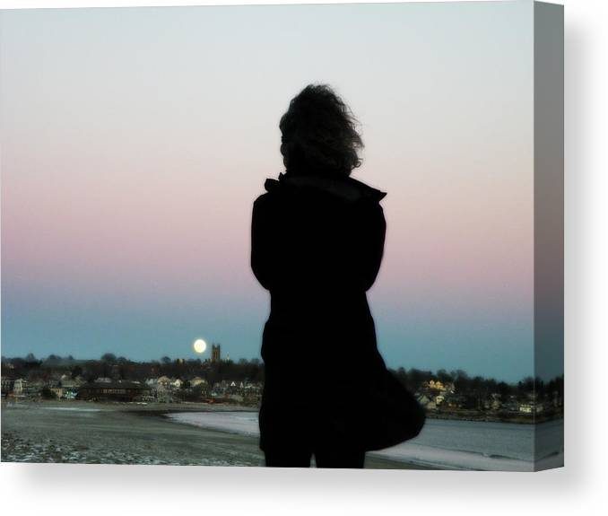 Full Moon Canvas Print featuring the photograph Full Moon And Her by Joseph C Santos