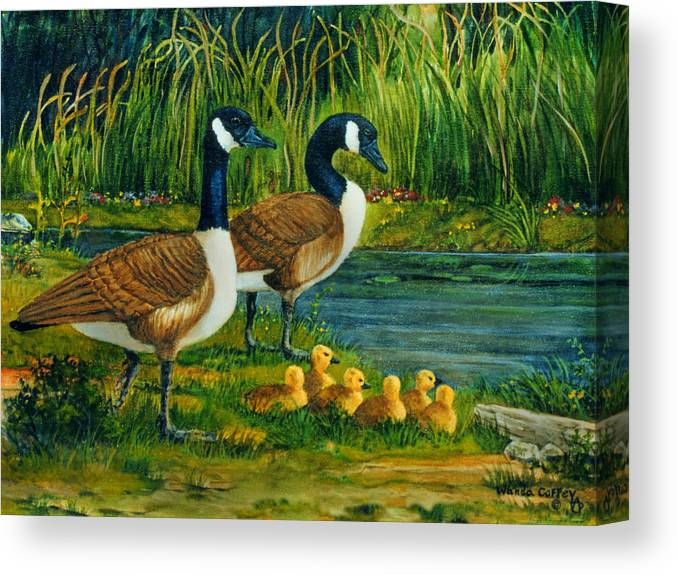 Geese. Canvas Print featuring the painting Geese by Wanda Coffey