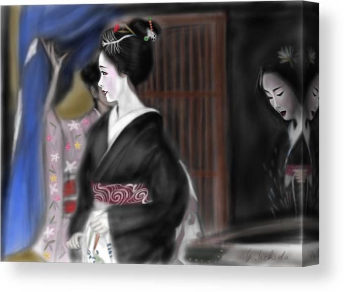Ipad Painting For Geisha Portrait Canvas Print featuring the painting Geisha No.4 by Yoshiyuki Uchida