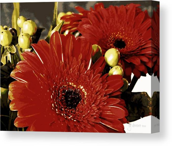 Fall Canvas Print featuring the digital art Gerber Berry Baby by Tg Devore