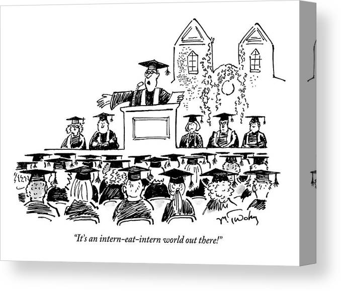 Graduation Canvas Print featuring the drawing Graduation Speaker Addressing Graduates Seated by Mike Twohy