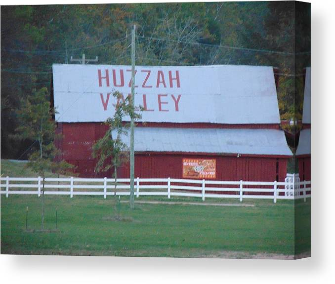 Huzzah Canvas Print featuring the photograph Great Fall View Of Huzzah Barn by Holly Cottrell