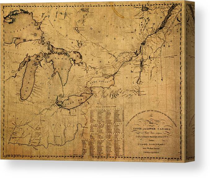 Great Lakes Canvas Print featuring the mixed media Great Lakes And Canada Vintage Map On Worn Canvas Circa 1812 by Design Turnpike