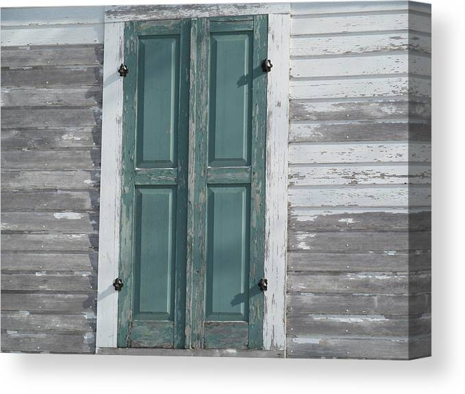 Window Canvas Print featuring the photograph Green Window Shutters by Tina M Wenger