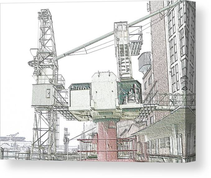 Duesseldorf Canvas Print featuring the photograph Greencranedigisketch by Denvie Green