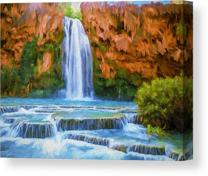 Fine Art Canvas Print featuring the painting Havasu Falls by David Wagner