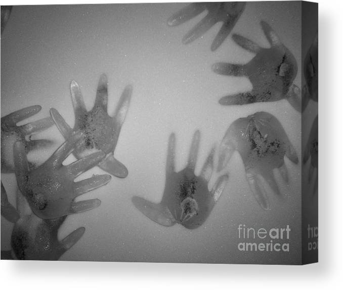Ice Sculpture Hands Snow Canvas Print featuring the photograph White Out by Kristine Nora