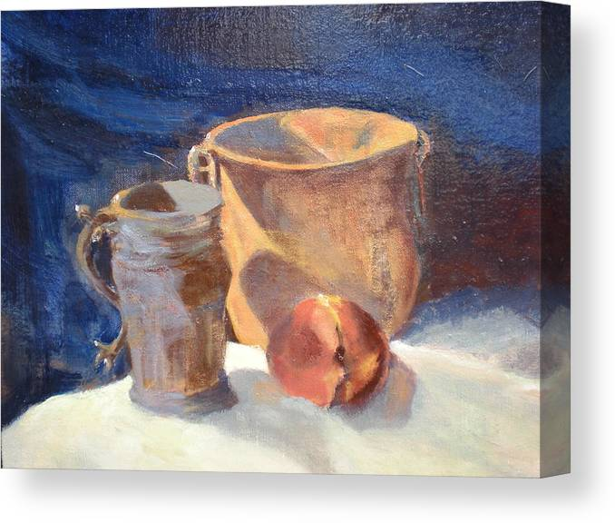 Still Life; Fruit; Canisters; Vases Canvas Print featuring the painting Just Peachy by Bryan Alexander