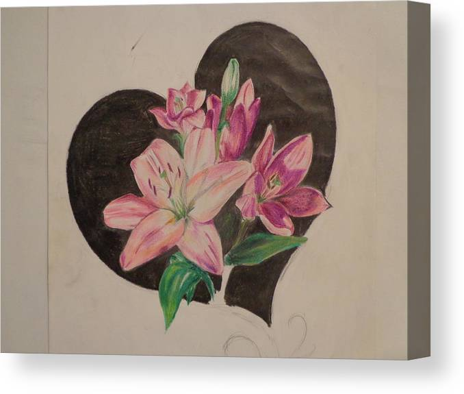 Flowers Canvas Print featuring the drawing Lilys Of Love by Chelsea Simunek