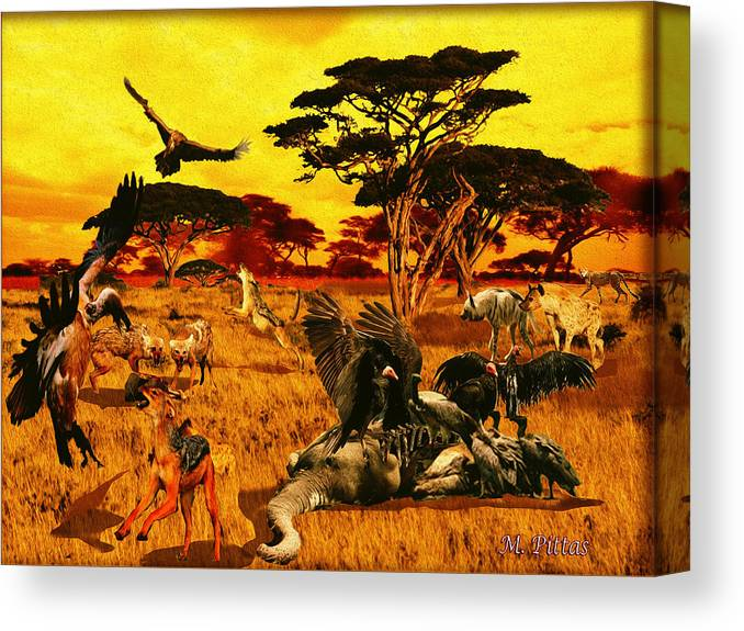Elephant Canvas Print featuring the digital art Lion Kill Morning After'98 by Michael Pittas