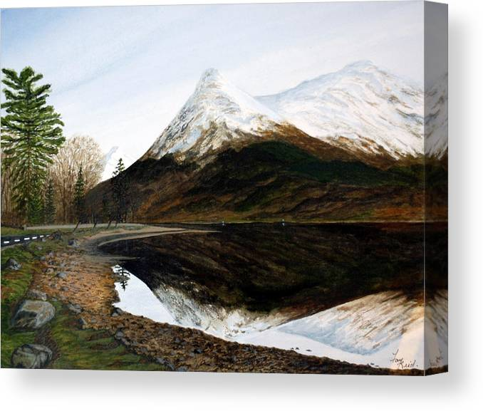 Lochleven Canvas Print featuring the painting Lochleven Reflections by Fay Reid