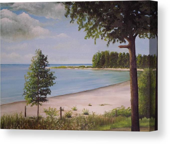 A Painting Showing A Beach And A Point In Canada Canvas Print featuring the painting Madelyn's Point by Martin Schmidt