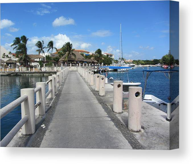 Marina Canvas Print featuring the pyrography Marina Perspective by Dody Rogers