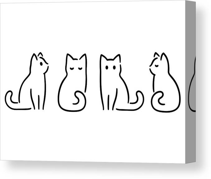 Pets Canvas Print featuring the drawing Minimal Cat Drawing by Sudowoodo
