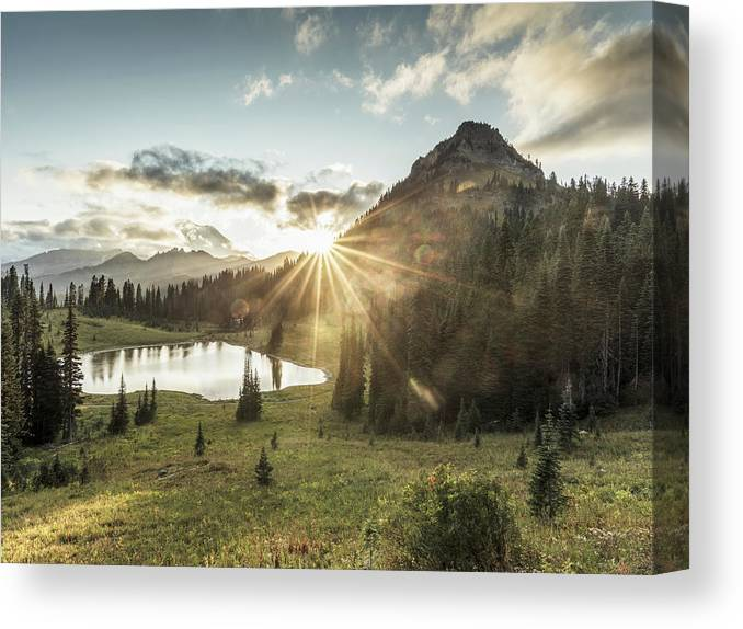 Scenics Canvas Print featuring the photograph Mt.rainier In Sunset by Chinaface