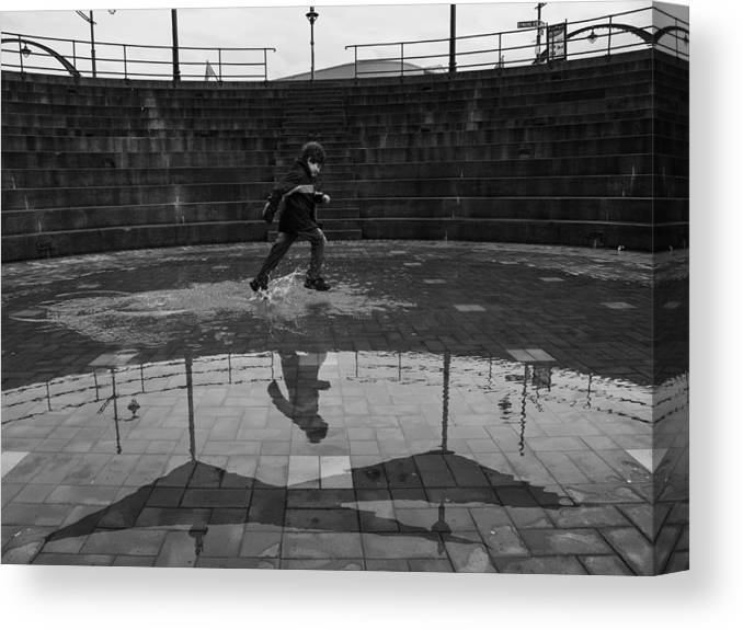 Rain Canvas Print featuring the photograph Playing In Rain by Lucian Nistor