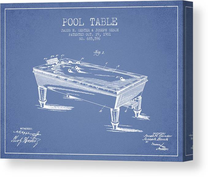 Pool Canvas Print featuring the digital art Pool Table Patent From 1901 - Light Blue by Aged Pixel